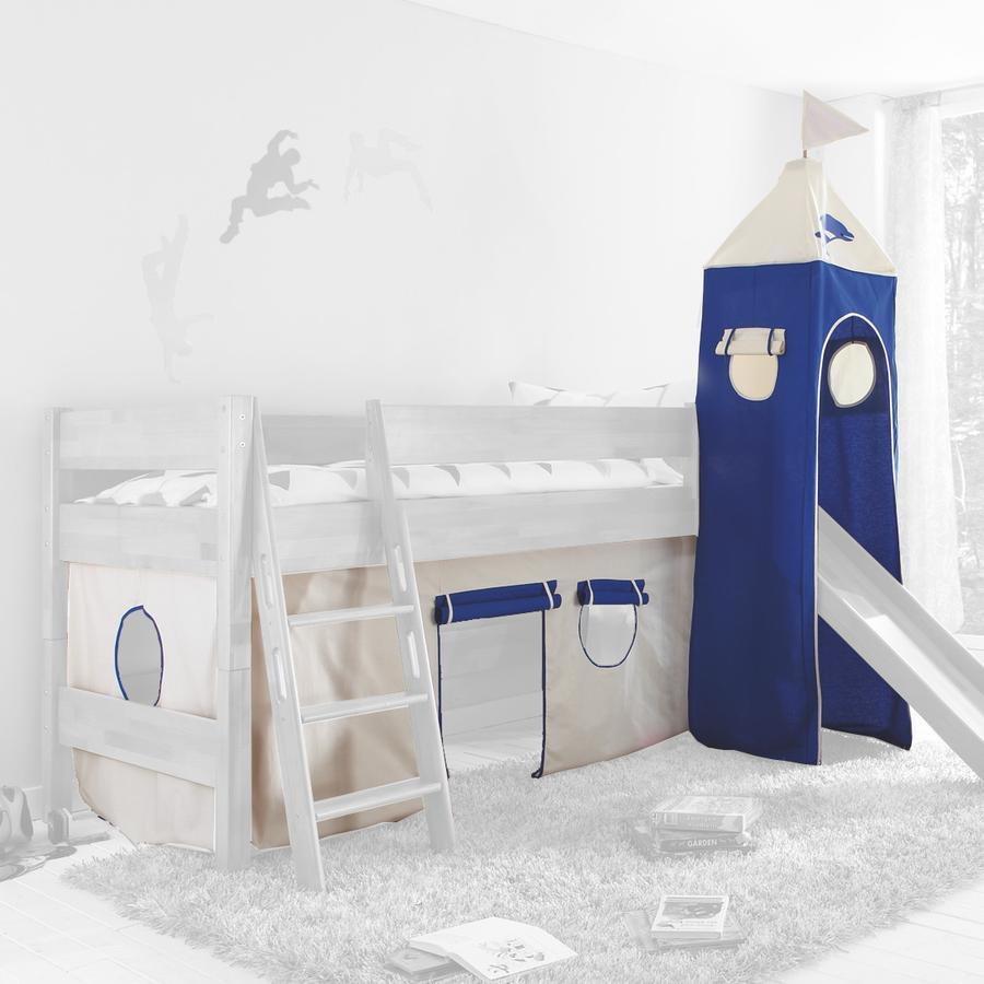 Relita Stoffset für Hochbetten mit Turm weiß-Delphin