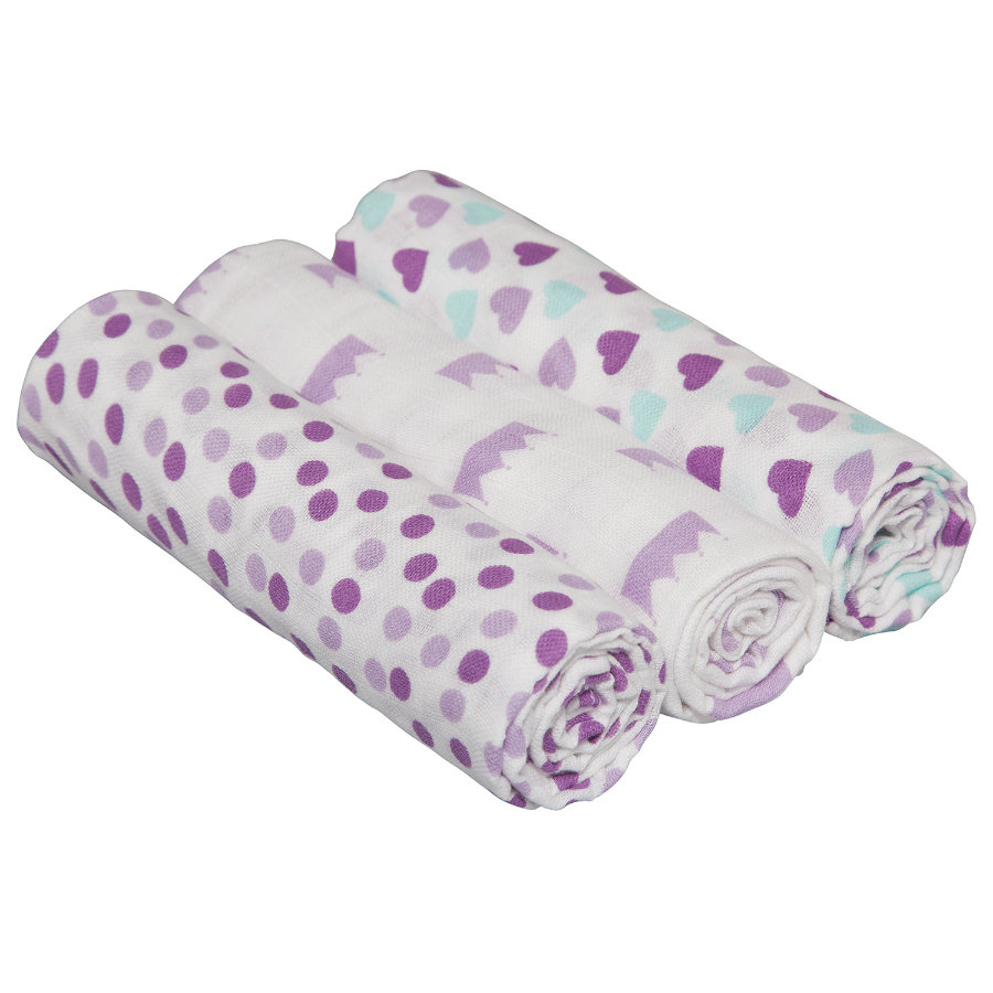 LÄSSIG Swaddle & Burp Blanket L Little Kings & Queen girls 85 x 85 cm