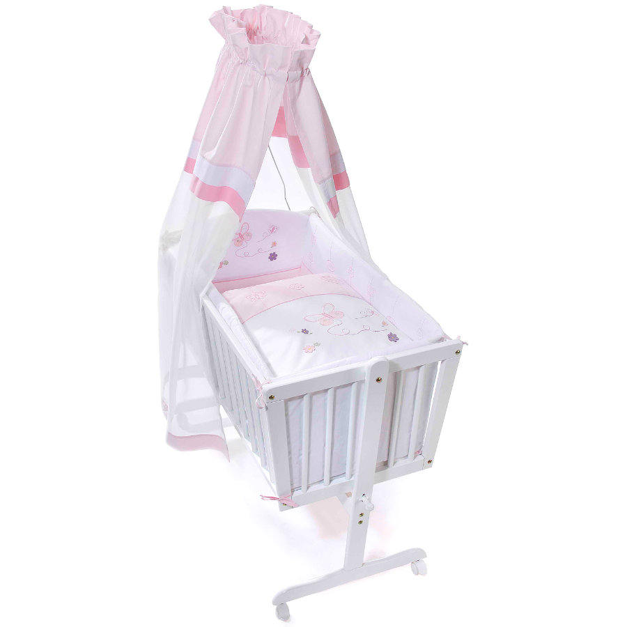 Easy Baby Cradle Linens Set - Butterfly rose