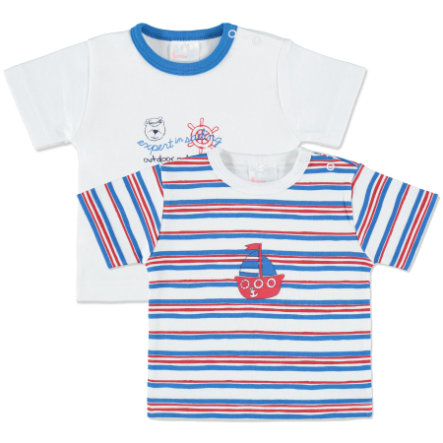 pink or blue Lot de 2 t-shirts, rayures, blanc/bleu