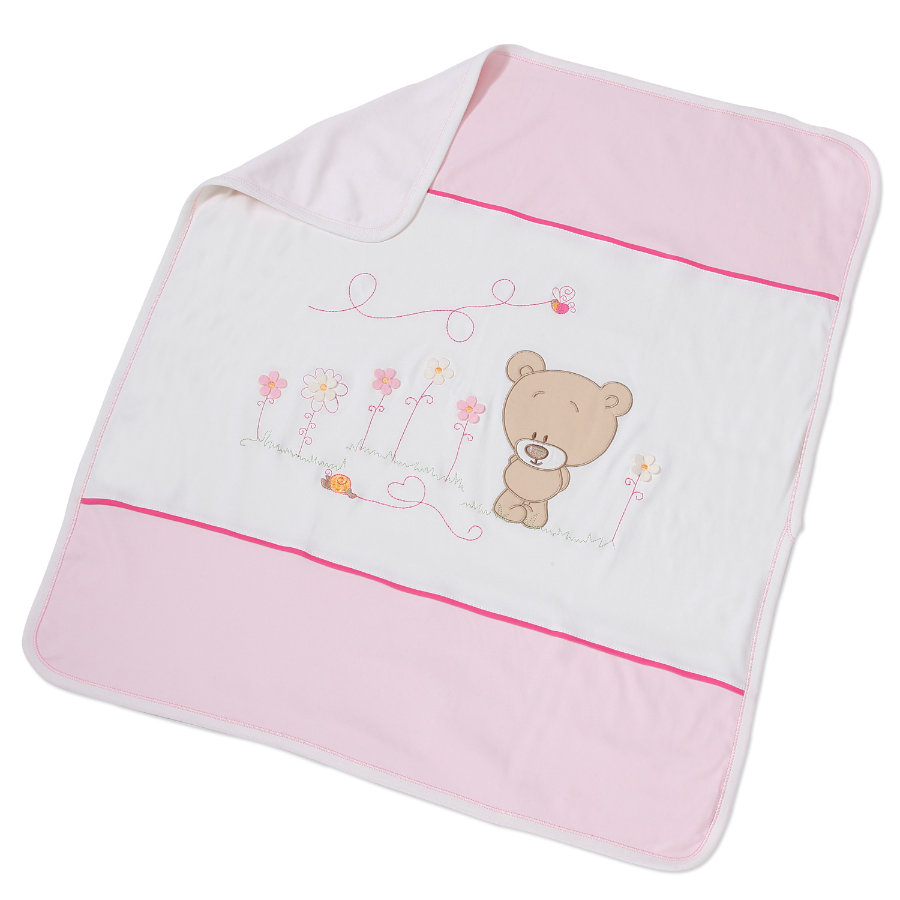 Easy Baby Kinderdecke 75x90cm Honey bear rose (462-42)