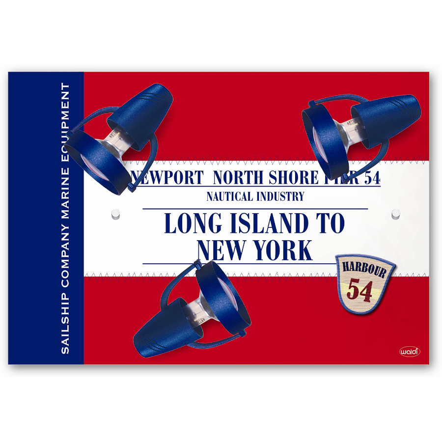 WALDI Taklampa Long Island, röd,  3 x R50 max. 40W/E14 230V