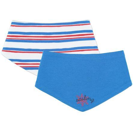 pink or blue Lot de 2 bavoirs bandanas maritimes, Garçons, rayures, bleu/blanc