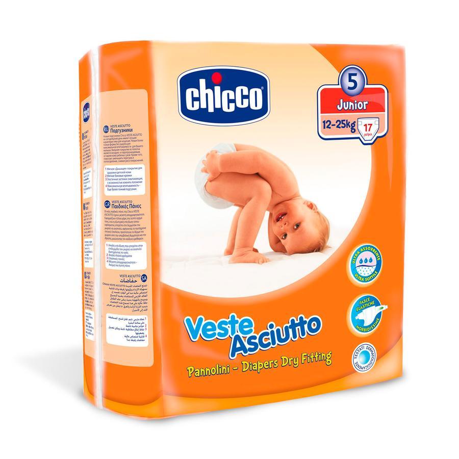 CHICCO Dětské plenky Junior, velikost 5,  17 kusů