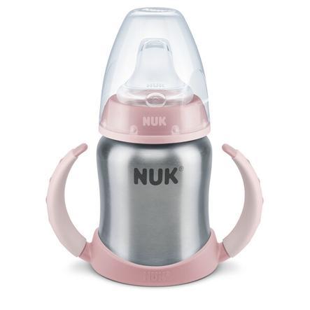 NUK Tazza bevimpara in acciaio Stainless Steel 125ml Beccuccio in silicone Rosa