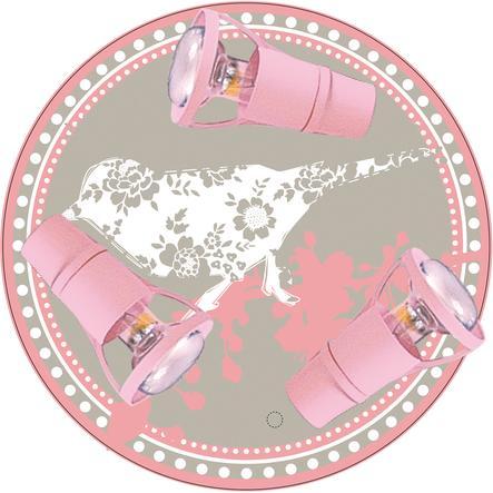 WALDI Plafonnier Petit Moineau, rose, 3 ampoules