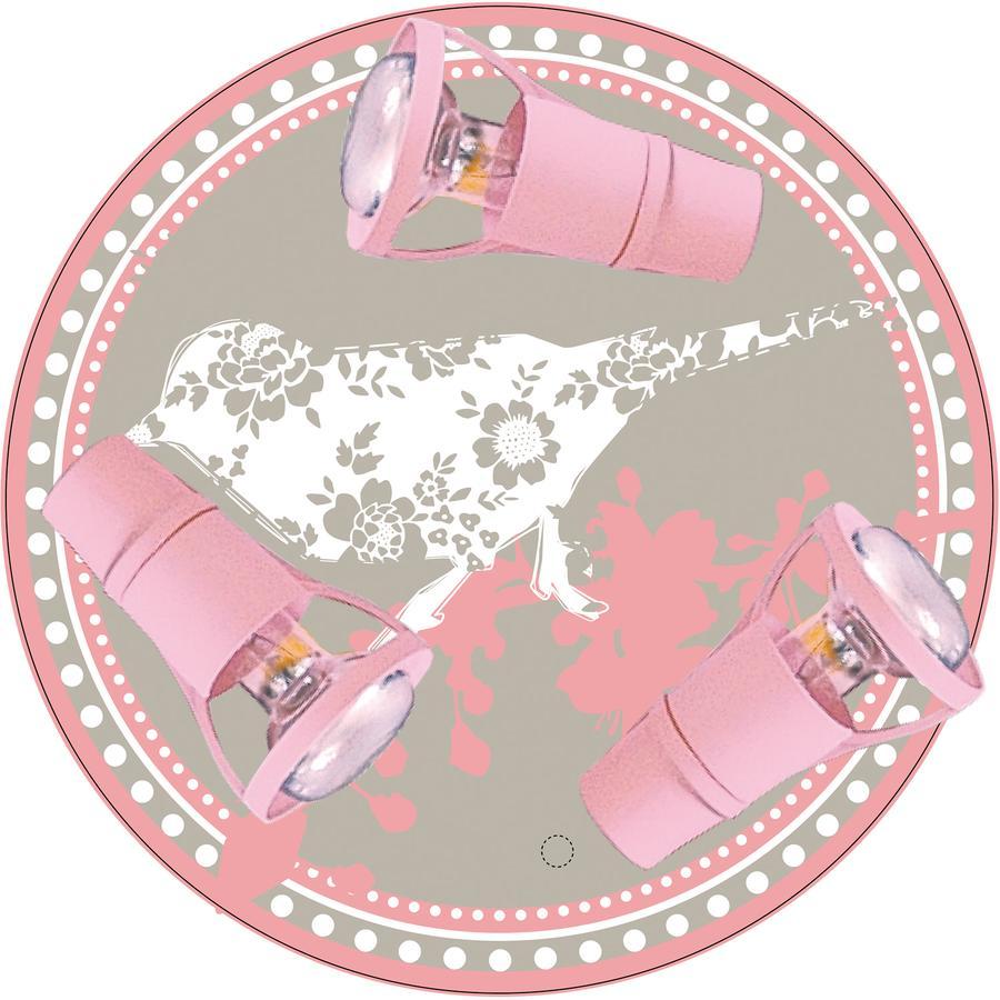 WALDI Plafond licht klein musje klein roze 3-flg.