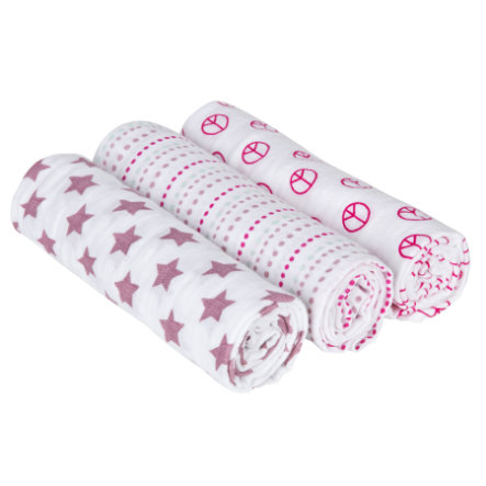 LÄSSIG Hoitoliina Swaddle & Burp Blanket Sweet Dreams, pinkki, 85 x 85 cm