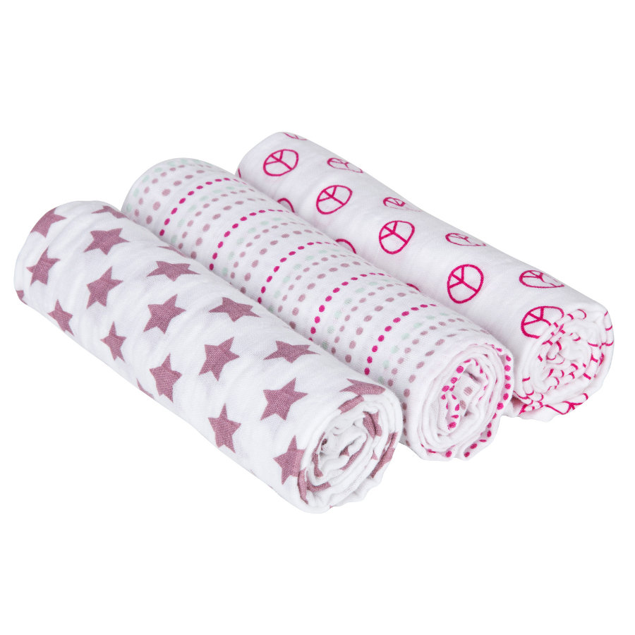 LÄSSIG Swaddle & Burp Dreggellapp Blanket Sweet dreams boys 85 x 85 cm