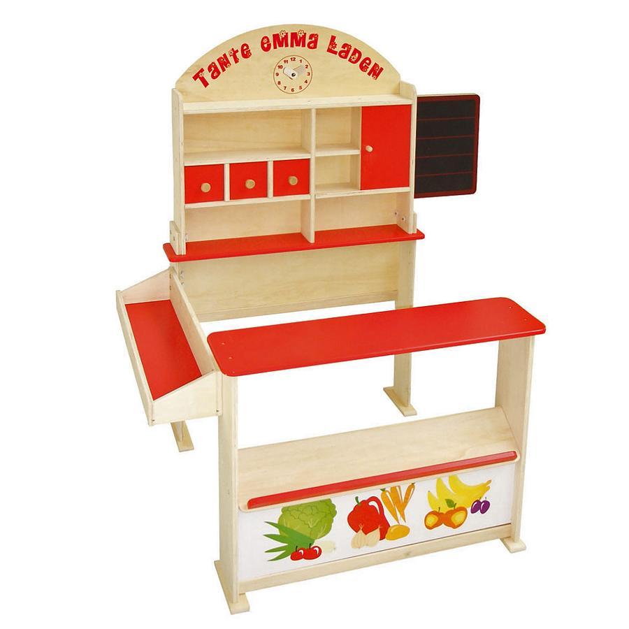 roba Verkaufsstand Holz natur, rot lackiert