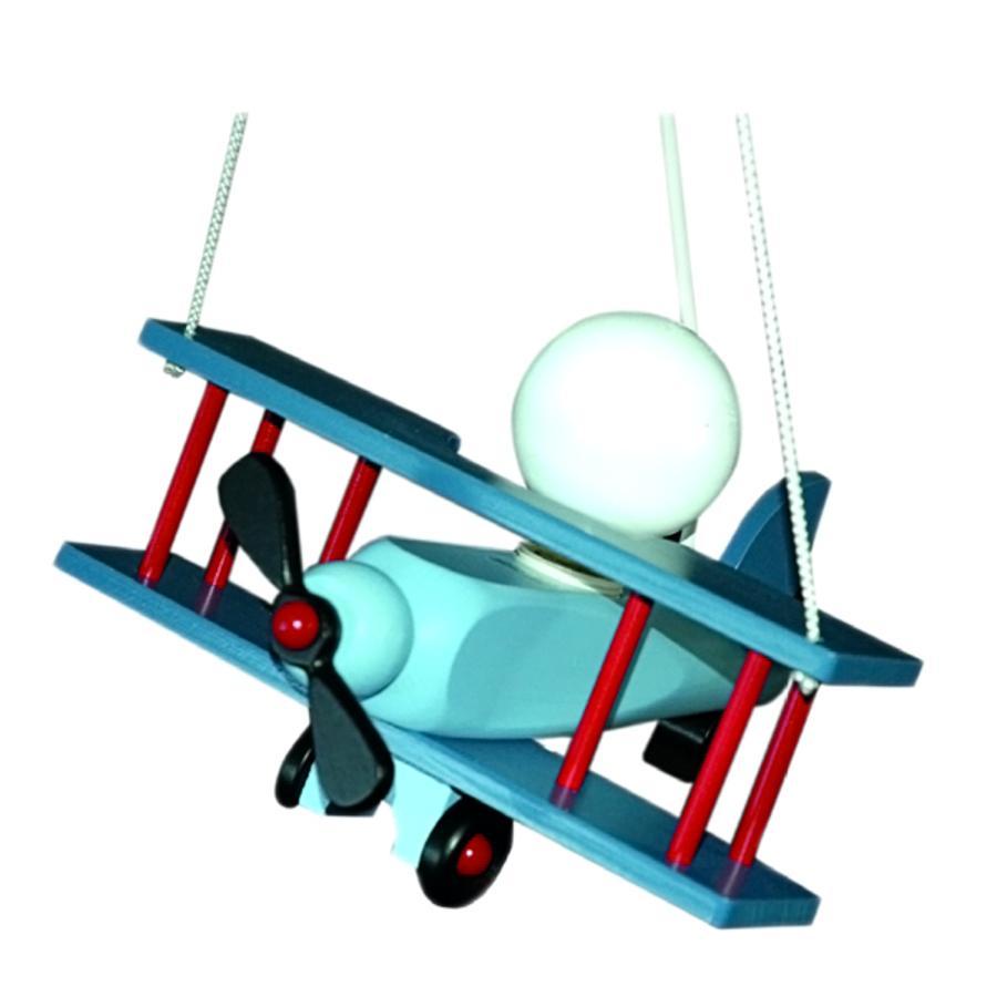 WALDI Suspension avion bois, rouge/bleu