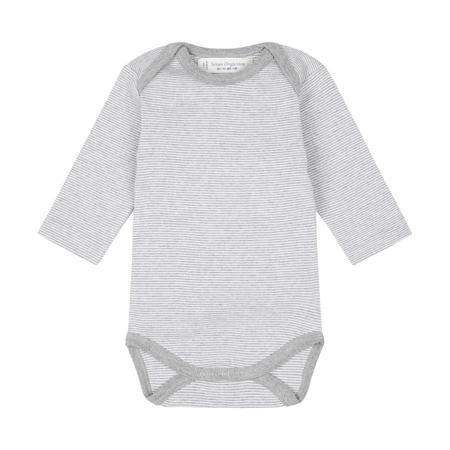 SENSE ORGANICS Baby Body YVON pinny randig grey marl