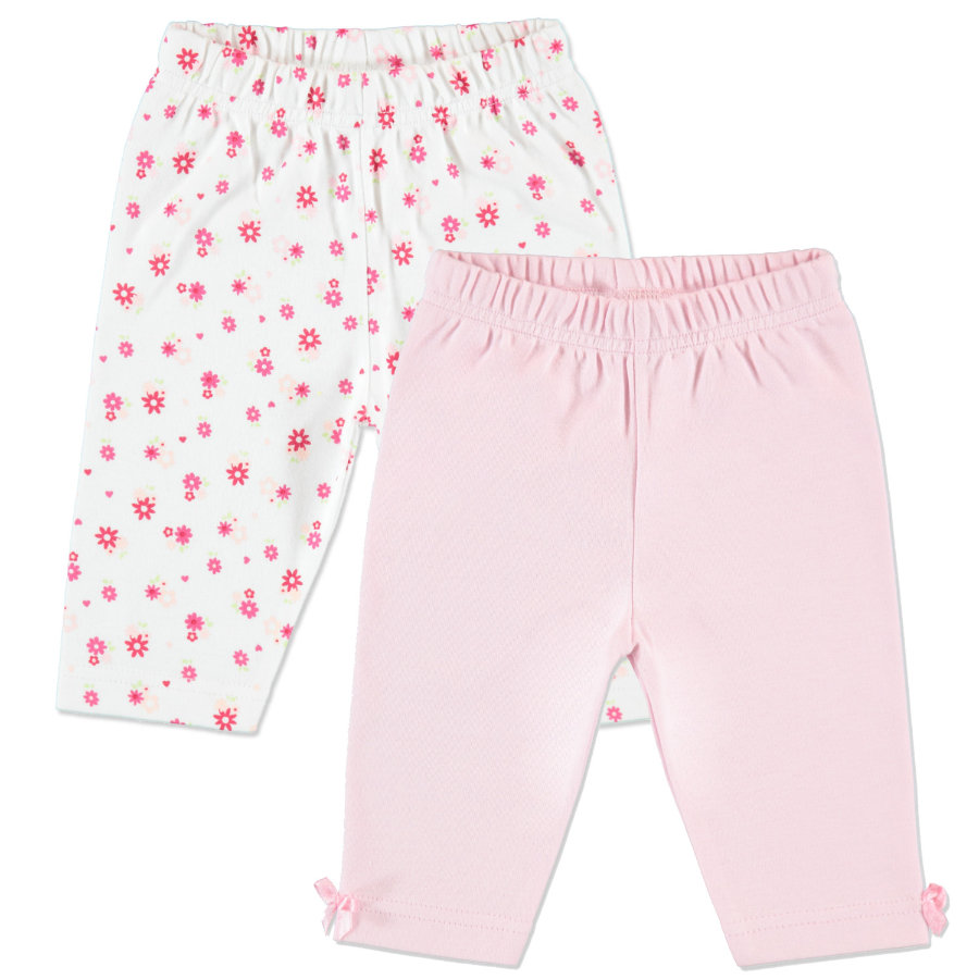 pink or blue Girls Flowers Leggings 2er Pack gemustert, weiß, rosa