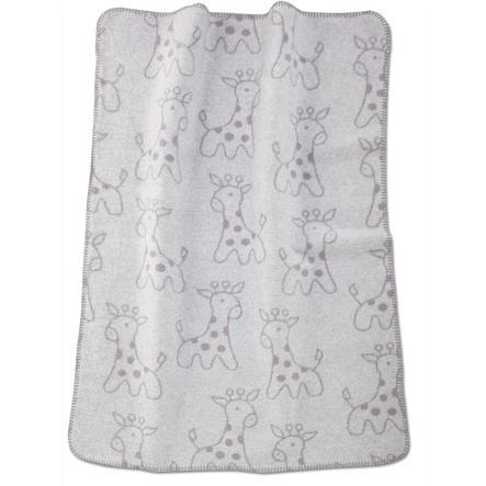 ALVI Katoenen Babydeken met Zijden Bies Giraf grijs