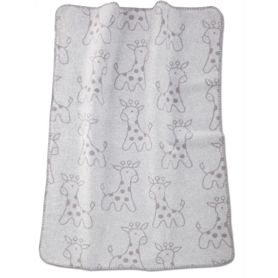 ALVI Babydecke Baumwolle mit Kettelkante Giraffe grau