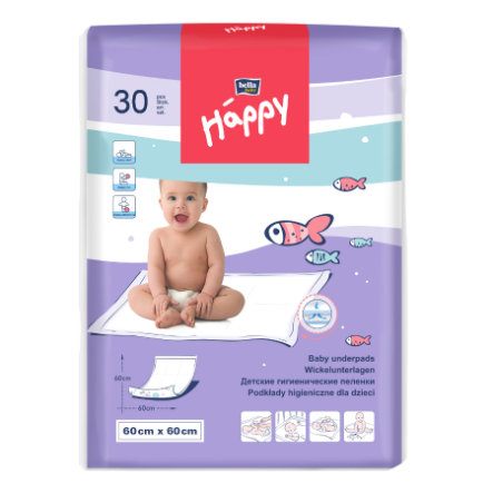 bella baby Happy Wickelunterlage 60  x 60 cm, 30 Stück
