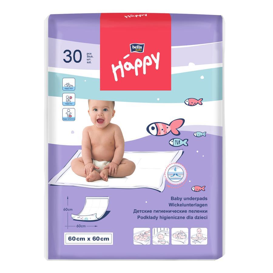 Bella Happy Surfaces à langer jetables 60 x 60 cm, 30 pièces