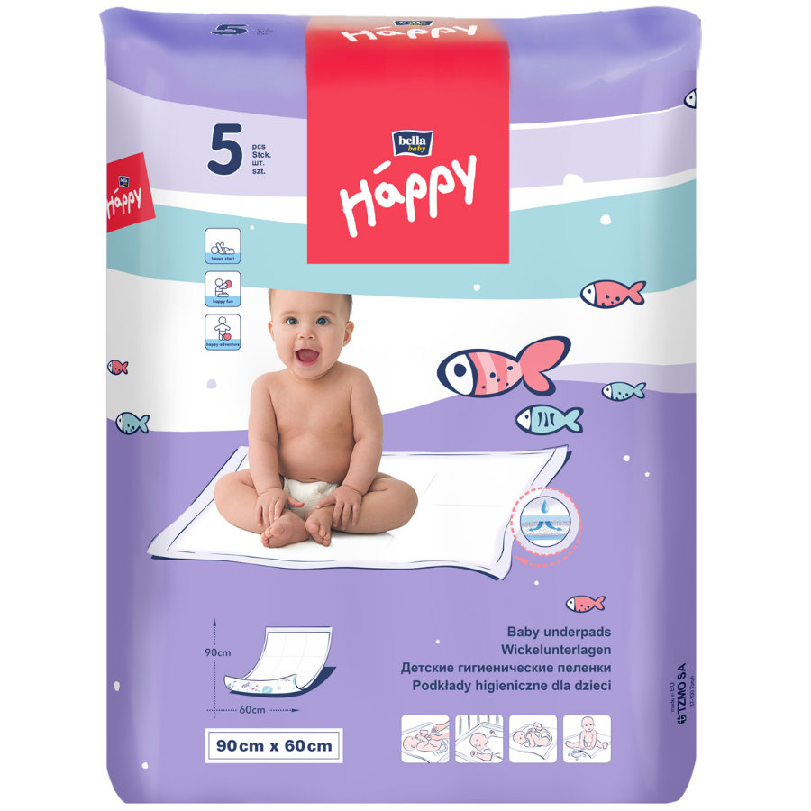 bella baby Happy Wickelunterlage 90  x 60 cm, 5 Stück
