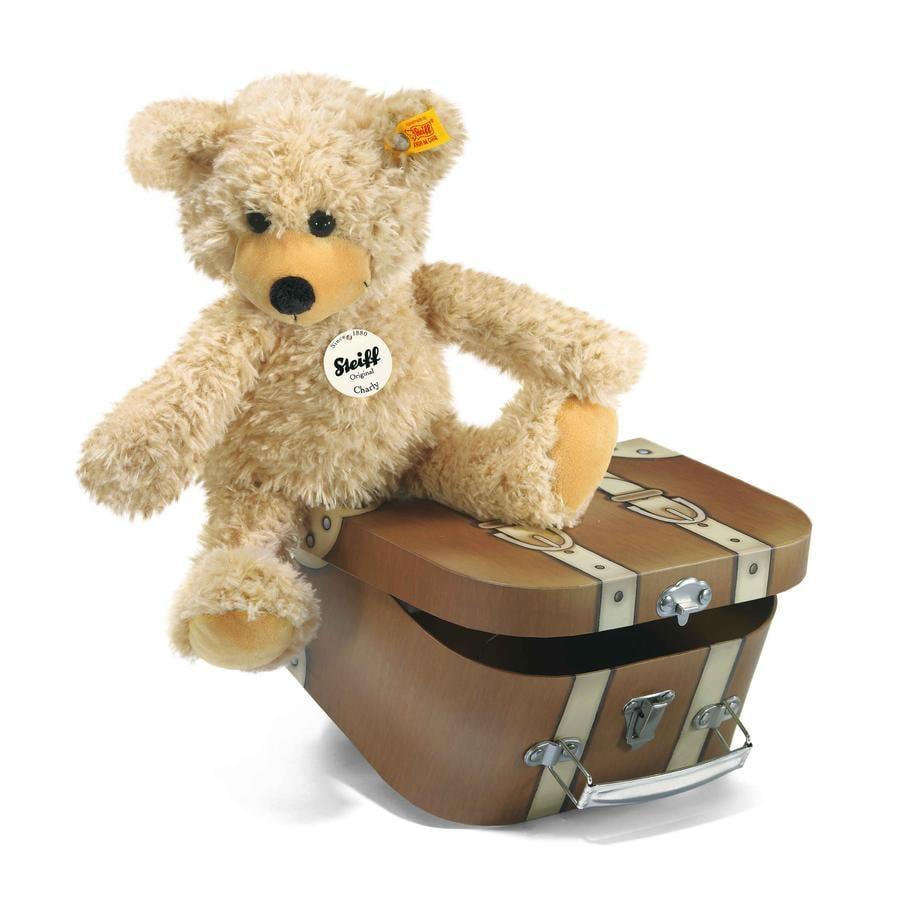 STEIFF Nalle Charly, 30 cm, beige + matkalaukku
