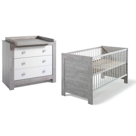 SCHARDT Chambre Nordic Driftwood, lit transformable et commode à langer, blanc/gris