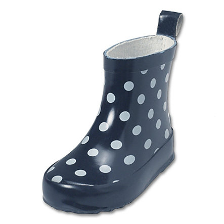 PLAYSHOES Rubber Boots low DOTS navy, PVC-free