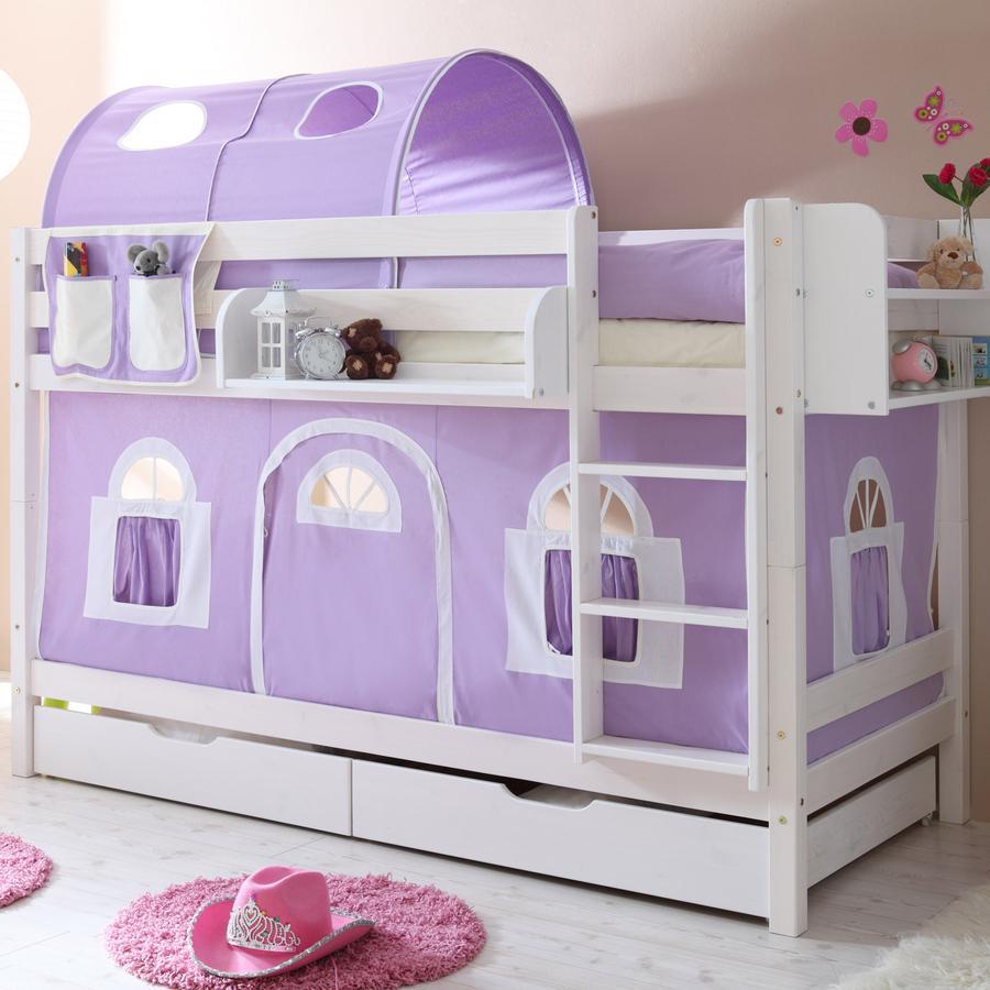 TICAA dvojlůžková patrová postel bílá - dům fialový,bílý