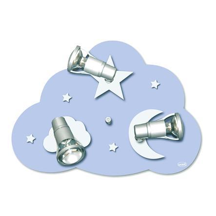 WALDI Plafonnier Nuage étoiles, 3 ampoules, 3 x 9W/E14