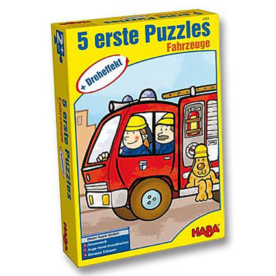 """HABA 5 Primi puzzle effetto giratorio """"Veicol"""""""