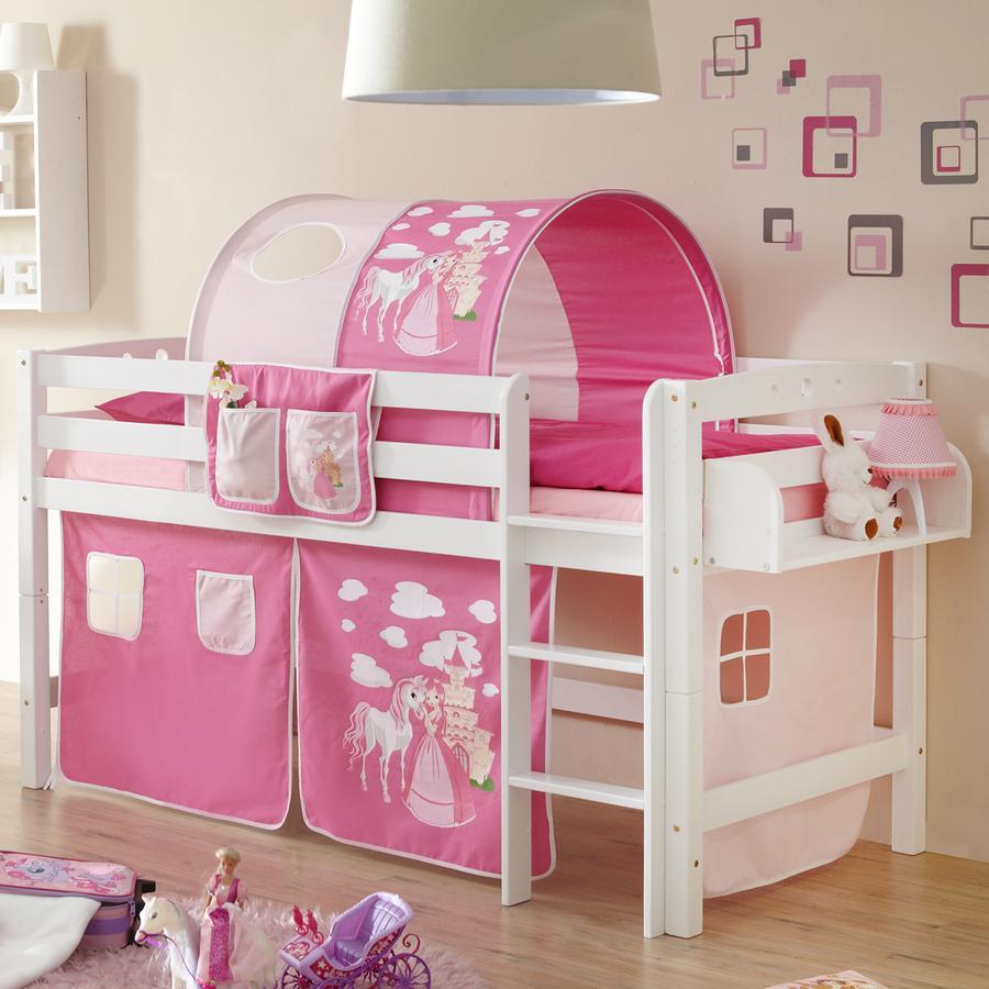 TiCAA Patrová postel Timmy R masivní buk bílá, Horse růžovo-pink