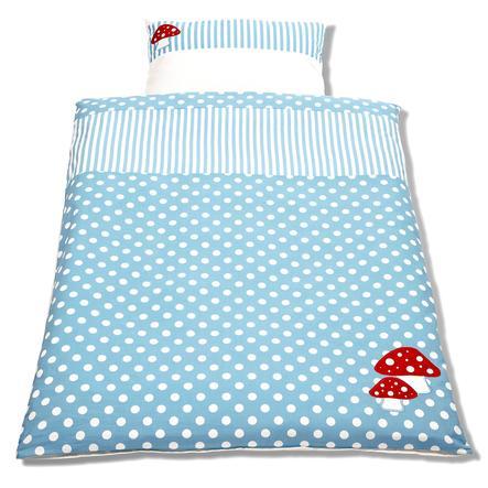 Pino lino Łóżko i futerał na poduszki do łóżeczek dla dzieci 2-częściowy grzybek szczęśliwy - jasnoniebieski