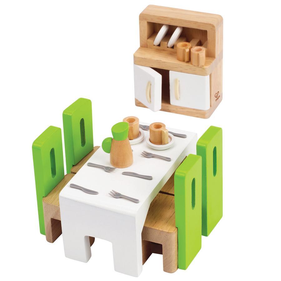 Hape Salle à manger pour poupée 24 pièces bois E3454