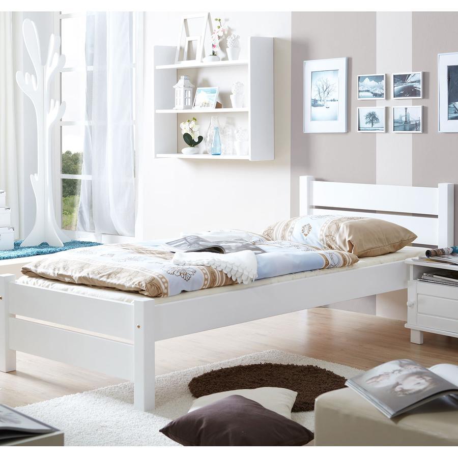 TiCAA Einzelbett Bora 100 x 200 cm Weiß