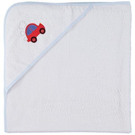 pink or blue Boys Ręcznik z kapturem Auto kolor biało-jasnoniebieski