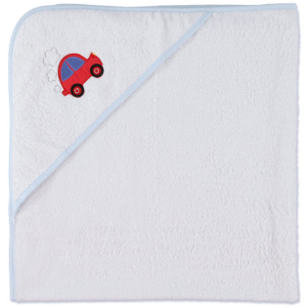 pink or blue Hooded Towel Car, white/light blue