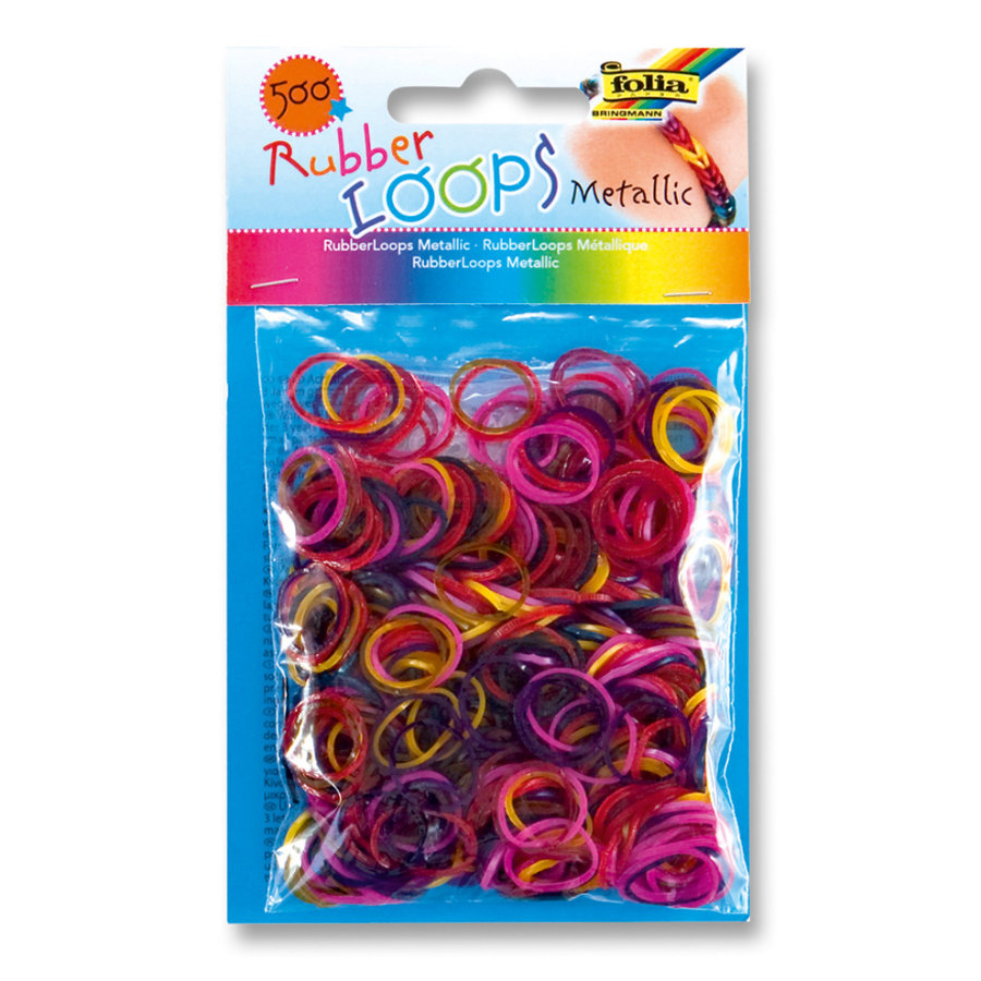 FOLIA Rubber Loops® - Metallic farbig sort.