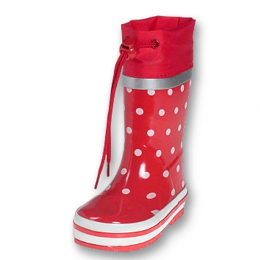 PLAYSHOES gummistøvler, i rød med punkter