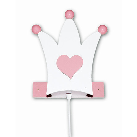 WALDI Vegglampe Krone, hvit / rosa 1-flg.
