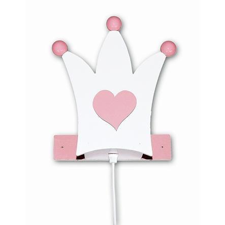 WALDI Wandleuchte Krone, weiß/rosa 1-flg.
