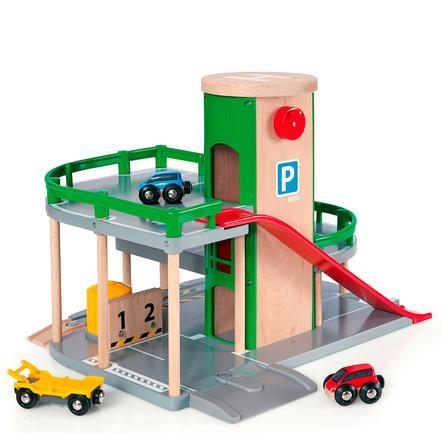 BRIO parkeringshus med vej og skinner