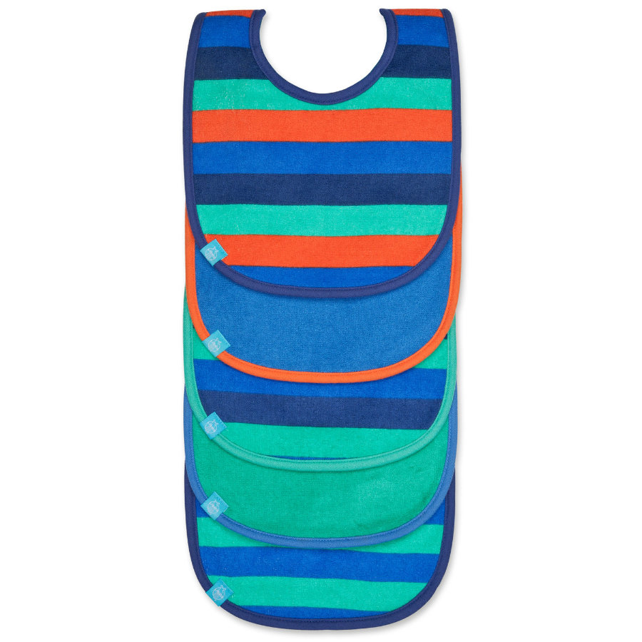 LÄSSIG Slabbetje bib value pack 3-24 maanden, striped multicolour boys, 5 stuks