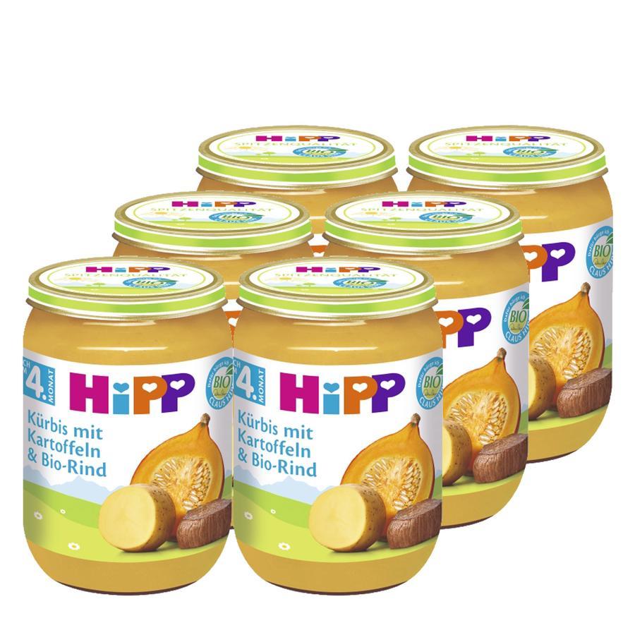 HiPP Bio Kürbis mit Kartoffeln und Bio-Rind 6 x 190g