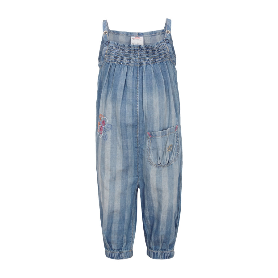 s.OLIVER Girls Mini Combinaison en jean, denim bleu