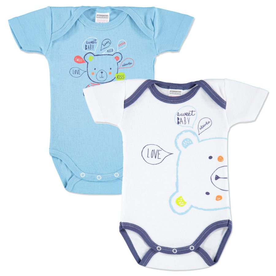 ABSORBA Boys Baby Bodies türkis/weiß 2-er Pack
