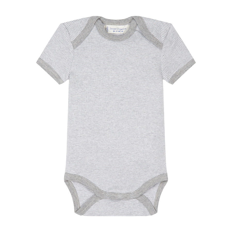 SENSE ORGANICS Baby Body dziecięce YVON pinny stripes grey marl