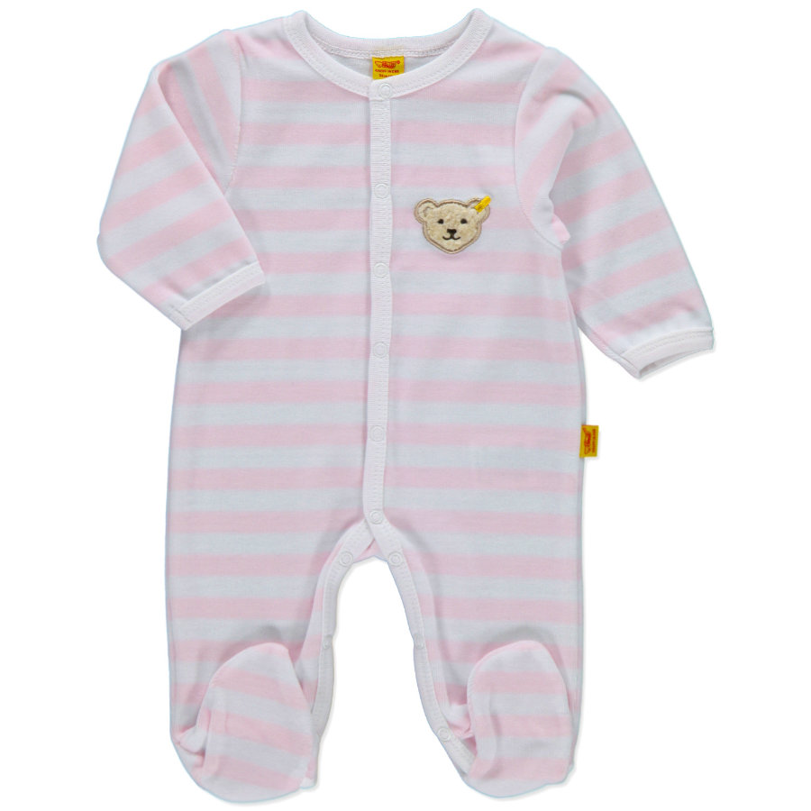 STEIFF Girls Baby Velour Rompers Stripes rosé