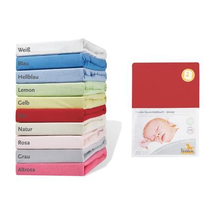 Pinolino Drap housse enfant Jersey rouge 140x70 cm lot de 2
