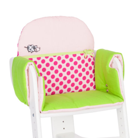 HERLAG Seat Pad for High Chair Tipp Topp IV EMMA green/pink dots