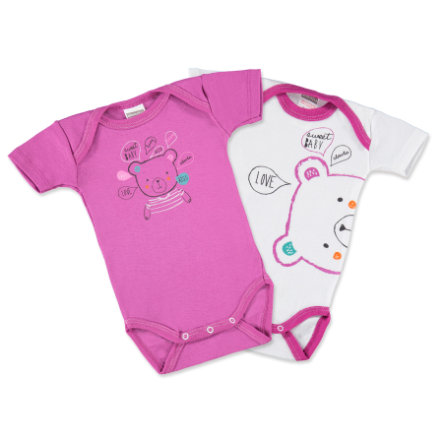 ABSORBA Baby Bodys 1/4 Arm rosa/vit 2-pack