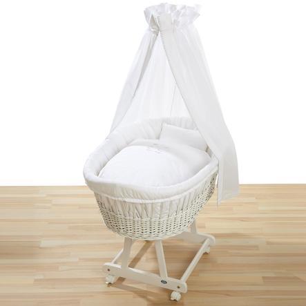 ALVI Verrijdbare wieg Birthe, massief hout grenen, wit, met verrijdbare wieg set 321-0 Hello Baby wit