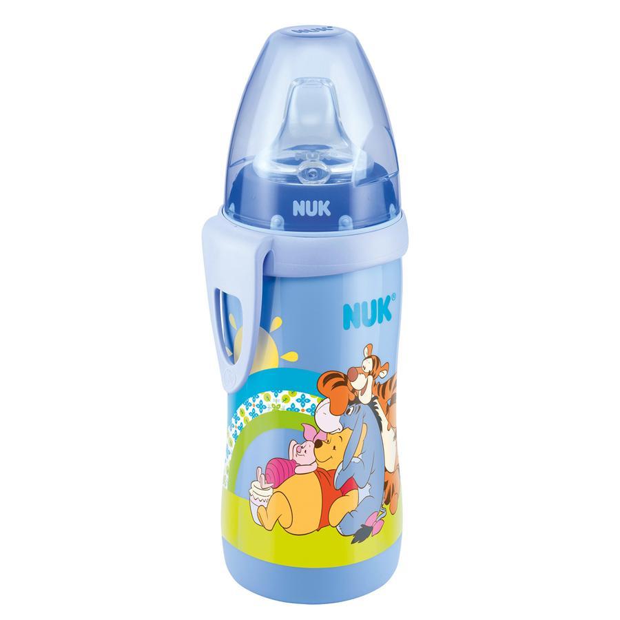 Láhev se silikonovým pítkem NUK Active Cup 300 ml Disney Medvídek Pú - modrá, od 12 měsíců